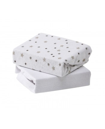 Baby Elegance Travel Cot Fitted Sheet 2 Pack Grey Star